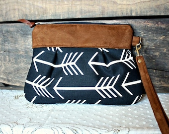 Arrow fabric clutch wristlet pouch Faux suede trim white black canvas -Made to Order-