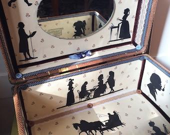 Vintage Victorian & Colonial, Regency Silhouette Travel Train Case Steampunk Tweed Leather