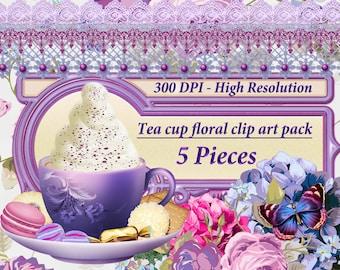 Tea Party Clipart, Tea Cup Clipart, Clip Art, Floral Clipart