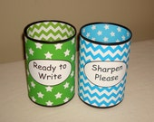 RESERVED - Lime and Turquoise Stars and Chevron Pencil Holder Set - 821