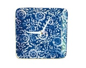 Indigo and White Floral Wall Clock / Navy and Whtie Kitchen Clock / Batik Wall Decor / Blue and White Home Decor - 1800