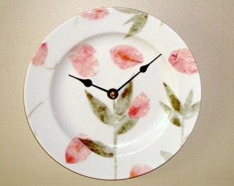 ON SALE!  Pink Floral Wall Clock - Porcelain Plate Wall Clock - Kitchen Clock - Botanical Wall Decor - Nursery Decor - 1794