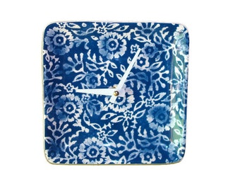 Indigo and White Floral Wall Clock / Navy and Whtie Kitchen Clock / Batik Wall Decor / Blue and White Home Decor - 2185