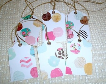Whimsical Polka Dot Gift Tags with Twine, Pink and Turquoise Gift Tags, Rustic Gift Tags - Set of 6 - GT008