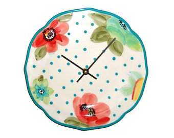 Turquoise Polka Dot and Floral Wall Clock 10-1/2 Inches, Numbers Available, Ceramic Plate Clock, Floral Wall Decor, Unique Wall Clock - 2136