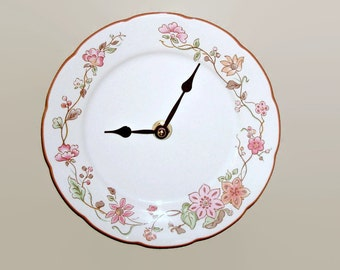 SMALL 6-1/2 Inch Wall Clock or Shelf Clock - Pink Tan and White Floral Wall Clock -  Kitchen Clock - Wall Decor - Plate Clock - 1721