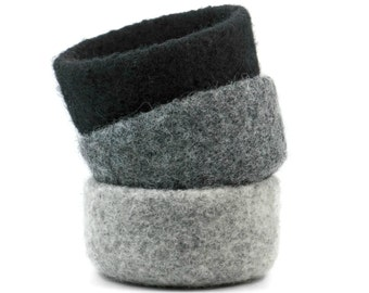 Felted Bowls Set Of 3 Three Felt Bowls Gray Black Neutral Monochome Winter Decor Knitted Baskets Soft Storage Desk Organizer Catch All
