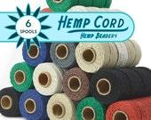 2mm Hemp Cord, 6 Spools,   48lb,  205 Feet,  Twine,  Macrame Cord, Bulk  Hemp  Twine, Choose The Colors  -T78