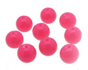 Pink Neon Beads 10mm, 75 Pcs, Acrylic Neon Beads, Gumboil Beads -B48