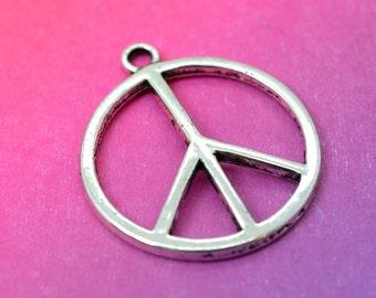 Peace Sign  Pendant, 8 Pieces, 24mm, Silver  Peace Symbol, Hippie Charms, Peace -C444