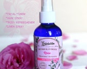 Organic Rose Hydrosol. Facial toner, Hair spray, Body refreshener and Linen spray - all in 1. Aromatherapy spray. 4 oz