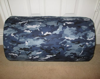 Monogrammed Childrens Pre School THICK COMFY Nap Mat Blue Camo Camouflage  w/Attached Cuddle Double Sided Minky Blanket Attached Plw