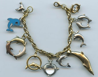 Dolphins and Porpoises Charm Bracelet Made With Flea Market Treasures Vintage and Recent Charms