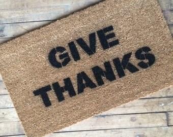 GIVE THANKS Welcome Mat Doormat Thanksgiving Porch Decor Door Mat