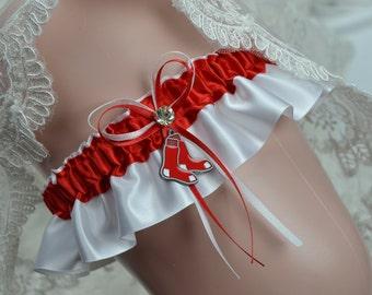 Bridal Keepsake Garter - BOSTON Red Sox Theme -Wedding Keep Garter -Bridal Keep Garter -Sport Garter