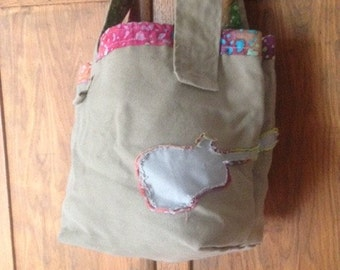 Tye Dyed Canvas Tote With Guitar Applique
