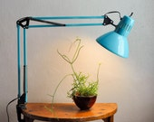 Vintage Modern Lamp Gorgeous Industrial Teal Mid Century Task Drafting Adjustable Work Light