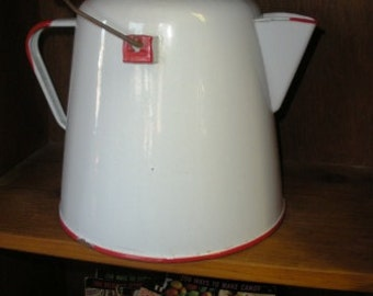 Large Vintage Enamelware Coffeepot Coffee Kettle with Bale Handle
