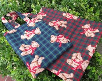 Bear Print Small and Extra Small Tote Bag Set - Gift Bag - Bag in bag (set of 2)
