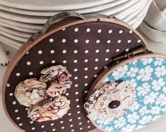Two Wood Embroidery Hoops with Polka Dot Fabric