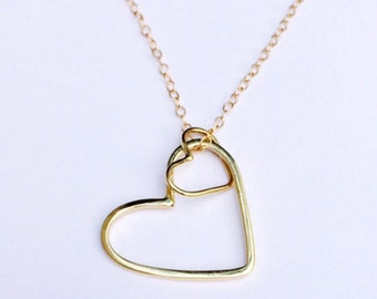 14K Gold Hearts Mom & Baby Necklace
