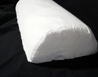 "Lumbar half moon pillow cover, half cylinder cushion cover, white cotton pillow case, specialty pillow slip, 18""x8x4"" custom, organic cotton"