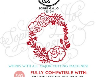 Rose Garden Floral Wreath SVG DXF PNG digital download file Silhouette Cricut vector graphics Clipart Vinyl Cutting Machines Screen Printing