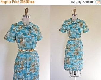ON SALE 1950s Dress - Vintage 50s Dress - Turquoise Gold Atomic Print Cotton Wiggle Dress M - Arizona Dreaming Dress