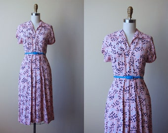1940s Dress - Vintage 40s Dress - Pink Navy Blue Rayon Abstract Flower Burst Print Day Dress S M - Daisy Bloom Dress