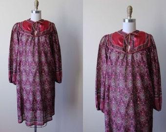 Vintage 70s Indian Cotton Dress - 1970s Mulberry Gold Metallic Gauze Cotton Block Print Tent Tunic w Beaded Ties - De Siguoura Kaftan