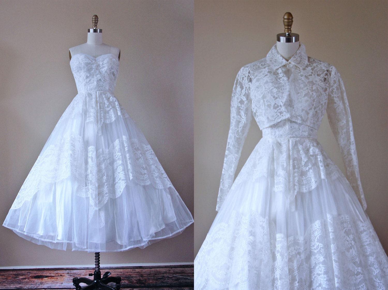 1950s Wedding Dress Vintage 50s Wedding Gown Ivory White