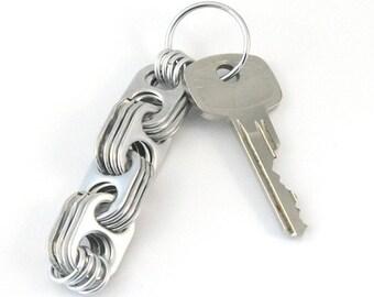 Crosslink pop tab keychain, soda tab keyring, upcycled keychain, recycled keychain, pull tab keychain, soda can top keychain