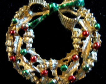 VINTAGE  Signed Golden Christmas Wreath Pin with Red & Green Balls
