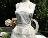 The Diva Lace Bridal Apron - Embroidery options are Wifey or Mrs.