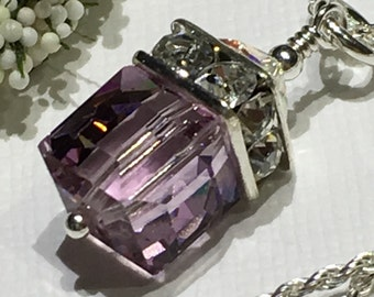 Necklace-Chain-Birthstone-June Birthday-Light Amethyst Swarovski Crystal Cube Pendant-Purple-Square-Sterling Chain-Choose 16-18 Inches-Gift