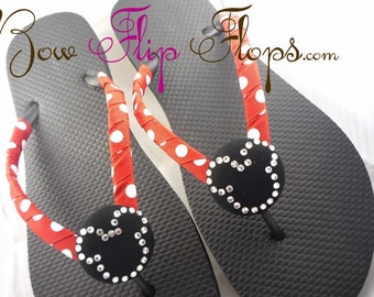 Disney Flip Flops - Mickey Mouse Rhinestone Bling Head Buttons - flat or wedges- Disney Vacation Flip Flop Shoes