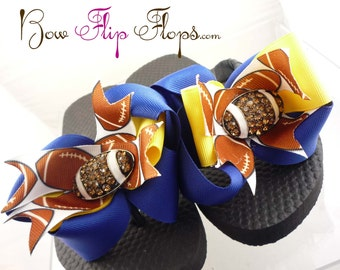 Custom Cute Football Flip Flops in Blue and Gold/ many colors