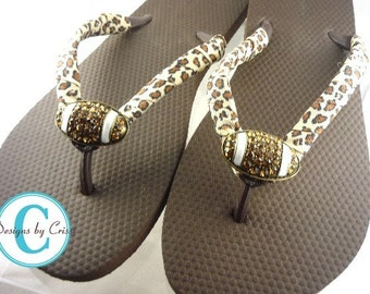 Football Flip Flops- Leopard Ribbon and Rhinestone Football. Sandal Mom Flip Flops