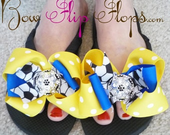 Soccer Bling  Flip Flops with Bows