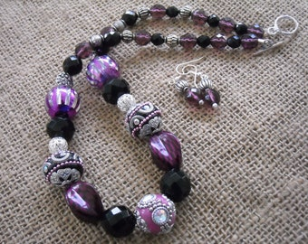 Jewelry Set - Purple and Black Necklace  - Jesse James Jewelry - Jewelry Gift Set - Holiday Gift
