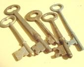 "5 vintage skeleton keys, 5 antique keys, steampunk collectible, slightly rusty old keys, one stamped ""dining room"""