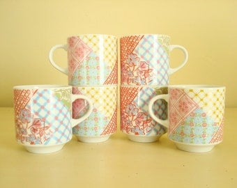Stacking mugs, pink red yellow blue patterned coffee cups, 1960-70 made in Japan, crazy quilt pattern, housewarming gift, bridal shower gift