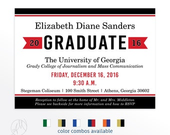 Class of 2017 Red and Black Graduation Announcement Grad Party Invitation High School College Graduate Announcements Simple Modern Preppy