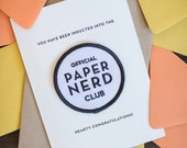 Paper Nerd Club - letterpress card & embroidered patch