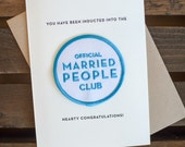 Married People Club - letterpress card & embroidered patch