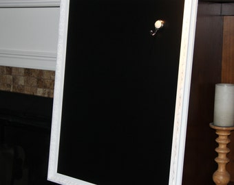 Extra Large, Ornate, Vintage, White, Framed, Magnetic Chalkboard (25 x 31 inches) Wedding/Home/Restaurant