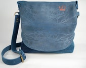 Blue (petrol) leather tote with blue print