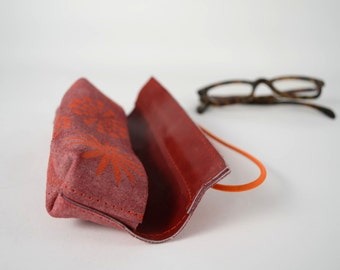 Leather glasses case (with neon print)