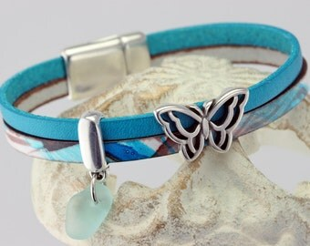 NEW! Turquoise Leather Silver-Pllated Butterfly Wrap Bracelet