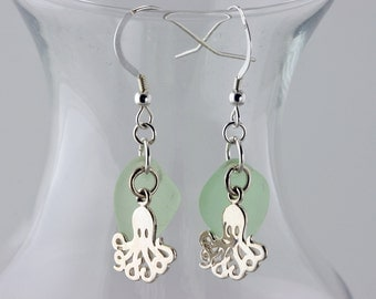 Sterling Silver Octopus with Sea Foam Genuine Sea Glass